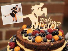 Cake Topper Hochzeit personalisiert nach einer Fotovorlage des Brautpaares Holz  Fotogruesse: DIY: Naked Cake - Hochzeitstorte selber backen