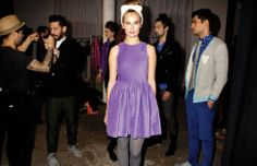 A Glimpse behind the scenes at VAUTE NYFW...  Kristina Dress in lilac organic velvet http://vautecouture.com/collections/women/products/the-kristina-dress-velvet-moleskin-satin