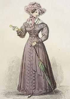 Antique Fashion Engraving 1825 La Belle Purple Carriage Dress Victorian