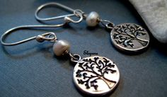 Dainty Sterling Silver Tree of life Earrings Coin by elsyrene