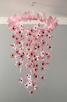 Flower mobile with ribbon top in pinknursery mobile baby