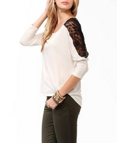 High-Low Lace Panel Top | FOREVER 21 - 2022446789