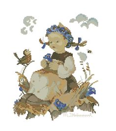 "Hummel ""Blue Belle"" cross stitch design"
