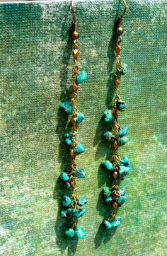 Long turquoise chain earrings by bluebegonia on Etsy, $25.00