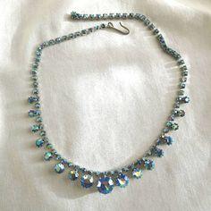 Vintage Blue Aurora Borealis Rhinestones Necklace by MyVintageJewels, $30.00