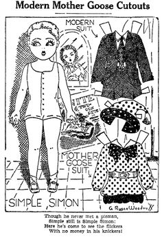 """September 09, 1937.  Here is SIMPLE SIMON a fun paper doll by Addie Rusco Woodruff with his Mother Goose suit and his """"Modern"""" suit."""