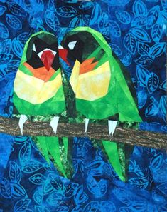 'Lovebirds' - paper-pieced pattern available from Silver Linings Originals Quilter's Corner