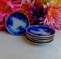 6 Gorgeous Antique W&E Corn Dark Flow Blue Butter Pats ~ York ~ 1900 c.