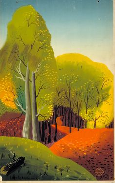 Edward McKnight Kauffer - How Bravely Autumn Paints Upon The Sky, 1938  An exhibition of Kauffer's iconic poster designs is now on at the Estorick Collection of Modern Italian Art, London. Further details HERE