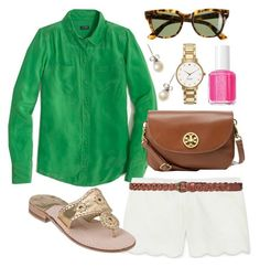 """""""Green blouse"""" by pearlsplease ❤ liked on Polyvore featuring J.Crew, Club Monaco, Zara, Ray-Ban, Kate Spade, Jack Rogers, Tory Burch, Essie, women's clothing and women"""