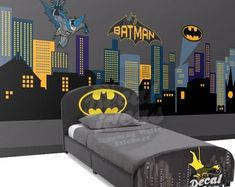 Custom Wall Decals and Murals for Home Decor by decalideas on Etsy Nursery Wall Decals, Removable Vinyl Wall Decals, Kids Wall Decals, Custom Decals, Wall Decal Sticker, Wall Stickers, Wall Murals, Superhero Boys Room, Superhero City