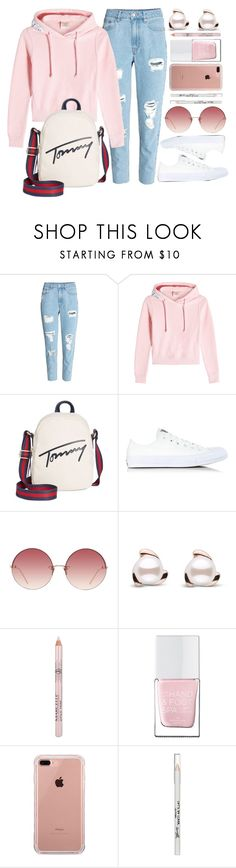 """""""Ordinary Day"""" by monmondefou ❤ liked on Polyvore featuring H&M, Vetements, Tommy Hilfiger, Converse, Linda Farrow, The Hand & Foot Spa, Belkin, Barry M, white and Pink"""