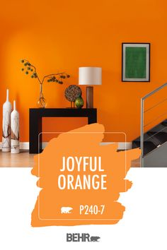 paint colors orange paint c Orange Bedroom Walls, Orange Rooms, Bedroom Wall Colors, Orange Walls, Orange Paint Colors, Behr Paint Colors, Orange Kitchen Paint, Orange Interior, Bright Paintings