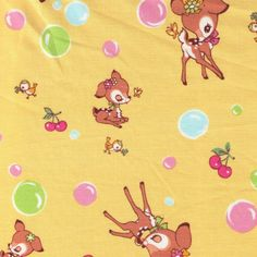 HALF YARD Yuwa Fabric - Little Deer, Cherries and Bubbles on Yellow - Atsuko Matsuyama 30s collection - Pink Mint Green - Japanese Import by fabricsupply on Etsy