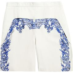 Just Cavalli Printed leather shorts (¥72,745) ❤ liked on Polyvore featuring shorts, bottoms, pants, short, white, mid rise shorts, print shorts, loose shorts, white short shorts and leather shorts