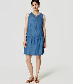 Image of Chambray Drop Waist Dress