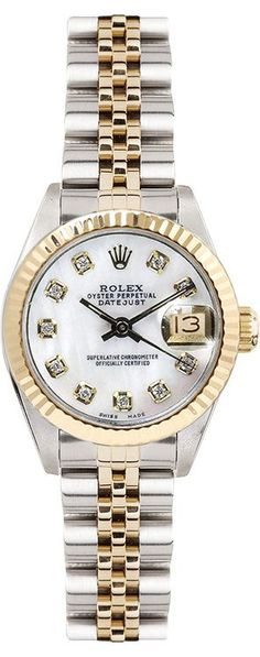 Rolex Women's 26mm D Rolex Women's 26mm Datejust Two Tone Fluted Custom Mother of Pearl Diamond Dial - Luxury Of Watches