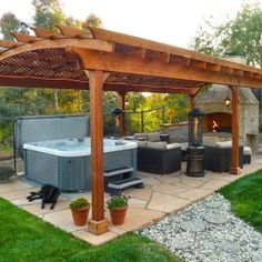 Modern Pergola Backyard - Home Design & Decorating Tips Pergola Diy, Building A Pergola, Backyard Gazebo, Pergola Garden, Modern Pergola, Metal Pergola, Cheap Pergola, Pergola Plans, Backyard Landscaping