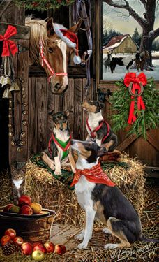 """New for 2014! Smooth Collie Christmas Holiday Cards are 8 1/2"""" x 5 1/2"""" and come in packages of 12 cards. One design per package. All designs include envelopes, your personal message, and choice of greeting. Select the inside greeting of your choice from the menu below.Add your custom personal message to the Comments box during checkout."""