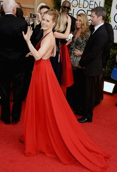 Amy Adams Dress on Golden Globes 2014 Red Carpet.  This 2 tone evening gown is backless, and has a train.
