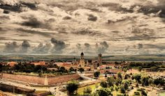 Sunday brings an interesting dance of clouds over the citadel (the Alba Carolina Fortress) Most Beautiful, Beautiful Places, Romania, Paris Skyline, Bring It On, Sunday, Clouds, Dance, Travel