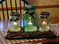 Create your own mason jar holiday centerpiece--tutorial