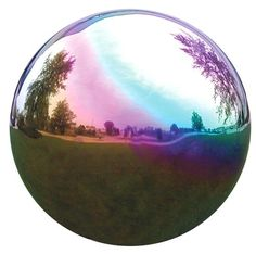Beautiful stainless steel mirror ball gazing globe is shatterproof & rust proof. Also non-tarnishing & can even float. Can be used with any gazing globe pedestal or stand. Lawn And Garden, Garden Art, Garden Ideas, Backyard Ideas, Garden Globes, Mirror Ball, Lawn Ornaments, Green Lawn, Garden Accessories