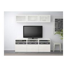 BESTÅ Tv-kalustekokonaisuus/vitriiniovet, valkoinen, Selsviken korkeakiilto valkoinen/huurrelasi 180x40x192 cm valkoinen/Selsviken korkeakiilto valkoinen/huurrelasi