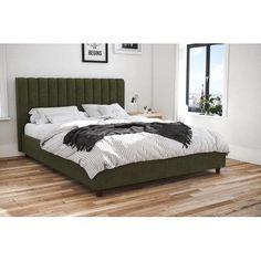 Upholstered Full Bed, Upholstered Platform Bed, Lit Plate-forme Diy, Diy Platform Bed, Bed Dimensions, Green Bedding, Oak Color, Bed Reviews, Panel Bed