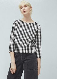 Check-pattern blouse - Shirts for Woman | MANGO Canada