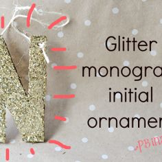 glitter monogram initial ornament
