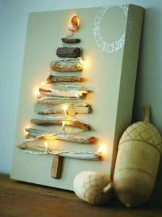 Driftwood Christmas Tree Make a Christmas tree canvas with driftwood and string lights. Christmas Tree Canvas, Driftwood Christmas Tree, Diy Christmas Tree, Winter Christmas, Christmas Holidays, Xmas Tree, Christmas Pictures, Simple Christmas, Christmas Lights