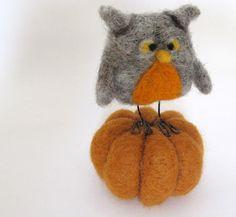 Needle Felted Owl Pumpkin Fall Colors. $25.00, via Etsy.