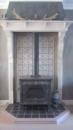 Wood burning stove surround tile ideas – Home Renovation Wood Stove Surround, Wood Stove Hearth, Wood Burner Fireplace, Tiled Fireplace, Fireplace Surrounds, Fireplace Design, Foyers, Corner Wood Stove, Pellet Stove
