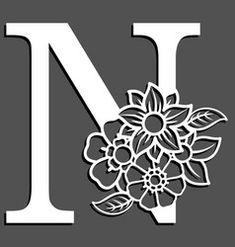Letter silhouette with flowers letter n vector Vector Pop, Line Art Vector, Free Vector Images, Vector Free, Gift Voucher Design, Pop Art Background, Flower Silhouette, Halloween Silhouettes, Embroidery Alphabet