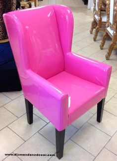 IN STOCK.....NO WAITING HOT PINK PATENT WING CHAIR. THE COLOR IS CLOSER IN COLOR…