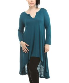 Look what I found on #zulily! Teal Notch Neck Hi-Low Tunic - Plus #zulilyfinds