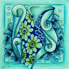Zentangle Drawings, Zentangle Patterns, Zentangles, Pencil Drawings Of Flowers, Sea Waves, Geometric Lines, Number Two, Green Man, Months In A Year