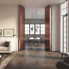 Gallery of Linvisibile Brezza - FILO 10 Vertical Pivot Door - 11 Pivot Doors, Internal Doors, Murs Mobiles, Aluminium French Doors, Invisible Doors, Plasterboard Wall, Movable Walls, Inside Home, Types Of Doors