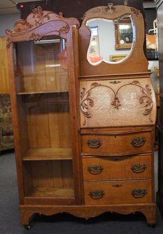 Early 20th C Antique Oak Larkin Secretary Desk & Bookcase Mirrored Arts + Craft