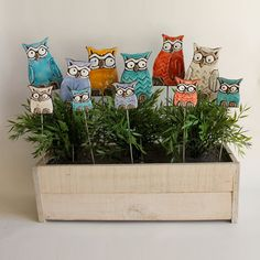 Owl garden art 1 pair- plant stake - garden decor - home decor - bird ornament - 1 large and small