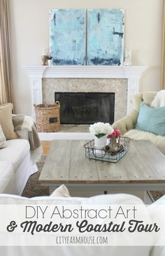 DIY Abstract Art & Modern Coastal Family Room Tour