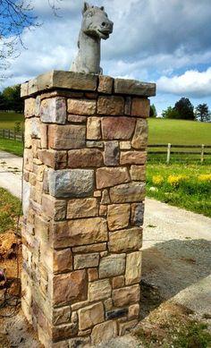 Stone gate column by Cornerstone Masonry