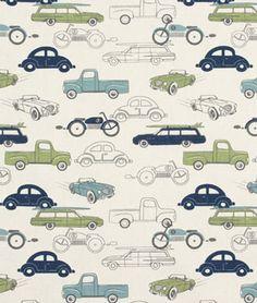 Curtains for the nursery! Premier Prints Retro Rides Felix/Natural Fabric - $7.45 | onlinefabricstore.net