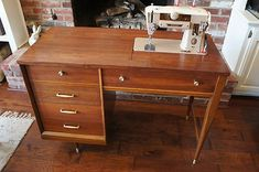 Sewing Machine Desk, Sewing Machines, Mid Century Cabinet, Sewing Cabinet, Eames, Copenhagen, Office Desk, Restoration, Singer