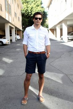 Men's White Longsleeve Shirt, Brown Leather Belt, Navy Shorts, and Brown Leather Boat Shoes