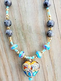 Lampwork necklace Handmade lampwork heart by NanabojoDesigns, $49.00 #EtsyMarketplace #FeaturedVendor