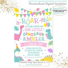 Dinosaur Invitation Girly Dinosaur by PixelPerfectionParty on Etsy