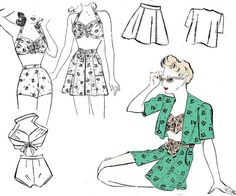 Playsuit or Swimsuit Pattern Style 4710 Overskirt Bolero Bra Top High Waisted Shorts Pinup Style Vintage Sewing Pattern Bust 36 inches Style Vintage, Vintage Fashion, 1940's Fashion, Swimsuit Pattern, Pin Up Outfits, Vintage Dress Patterns, Pin Up Style, Knitted Blankets, Knitting Designs