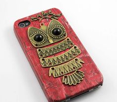 Owl with Brass Branch Hard Case Cover for iPhone 4 Case @Lauren Vasquez